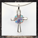 Egyptian ANKH (Anch) with 4 *LIGHT BLUE* cut glass stones...