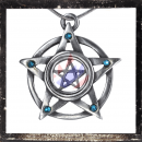 Double pentacle with 5 LIGHT BLUE cut glass stones on...