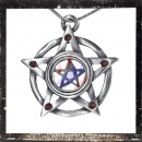 Double pentacle with 5 RED cut glass stones on each tip