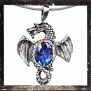 Dragon with wings outspread & DARK BLUE cut glass stone