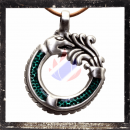 Dragon amulet with glas inlay inGREEN