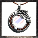 Dragon amulet with glass inlay in ORANGE