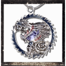 Large, heavy dragon amulet with Rose and Skull