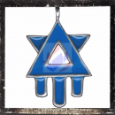 Hexagram with stylized drop of blood with Light Blue...