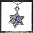 Celtic star with BLUE cut glass stone