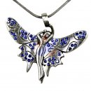 Winged Elf with BLUE cut glass stones