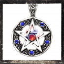 Pentacle with 5 BLUE & 1 RED cut glass stones
