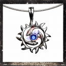 Round Triskel with sun and one *BLUE* central cut glass stone