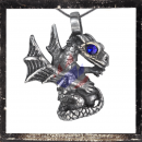 Sitting dragon with BLUE glass stone as eye