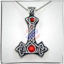 Thors Hammer with two *RED* cut glass stones and celtic...