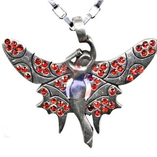 Winged Elf with RED cut glass stones