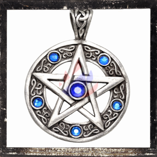 Pentacle with 6 BLUE cut glass stones